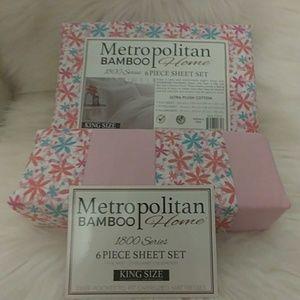 Metropolitan Bamboo King Pink Floral Sheet Set